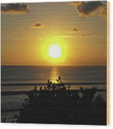 Sunset At Kuta Beach Wood Print