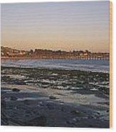Sunset At Low Tide On Ventura Beach Wood Print