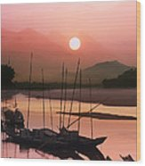 sunset at Mae Khong river Wood Print