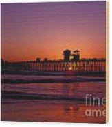 Sunset At Oceanside Pier Wood Print