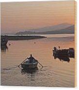 Sunset At Rosdohan Pier Near Sneem Wood Print
