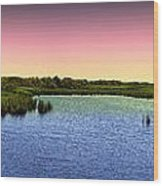Sunset At Sandpiper Pond Wood Print