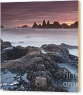 Sunset At Seal Rock Wood Print