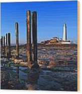 Sunset At St. Mary's Lighthouse Wood Print