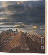 Sunset At The Badlands Wood Print