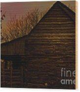 Sunset At The Barn Wood Print