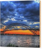 Sunset At The Bayonne Bridge Wood Print