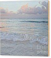 Sunset At The Beach Yucatan Peninsula Mexico Wood Print