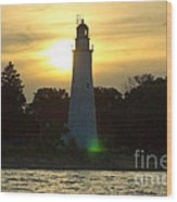 Sunset At The Ft. Gratiot Lighthouse Wood Print
