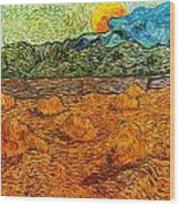 Sunset At The Hills Wood Print