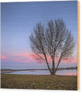 Sunset At The Lake Wood Print