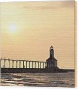 Sunset At The Lighthouse Wood Print