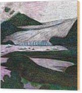 Sunset At Mendenhall Glacier Juneau  Alaska Wood Print