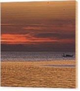 Sunset At The Sea Wood Print