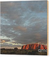 Sunset At Uluru Wood Print