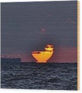 Sunset Barge Wood Print