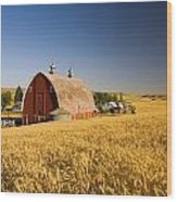 Sunset Barn And Wheat Field Steptoe Wood Print