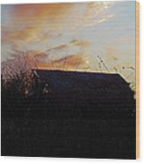 Sunset Barn1 Wood Print