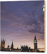 Sunset Behind Big Ben And The Houses Wood Print