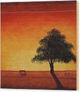 Sunset Bench Wood Print