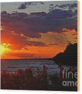 Sunset By The Beach Wood Print