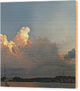 Sunset Clouds Over The Bay Wood Print