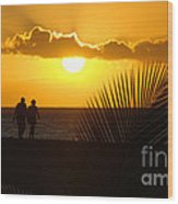 Sunset Couple Wood Print