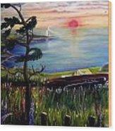 Sunset Cruisin' Wood Print