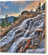 Sunset Falls Landing Wood Print