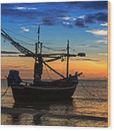 Sunset Fisherman Boat Huahin Thailand Wood Print