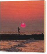 Sunset Fishing Wood Print