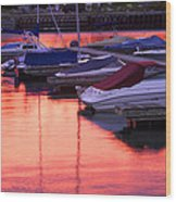 Sunset Harbor Wood Print