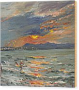 Sunset In Aegean Sea Wood Print