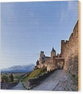 Sunset In Carcassonne Wood Print by Robert Lacy