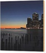 Sunset In Manhattan Wood Print