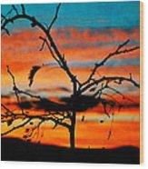 Sunset In Nevada Wood Print
