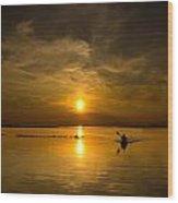 Sunset Kayak Wood Print
