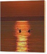 Sunset Kayakers Wood Print