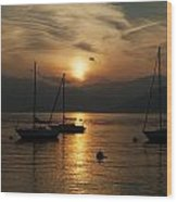 Sunset Lake Maggiore Wood Print