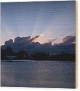 Sunset Light Rays Over The Pond Wood Print