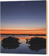 Sunset Moon Venus Wood Print