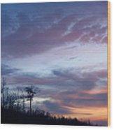 Sunset Mountain Wave Wood Print