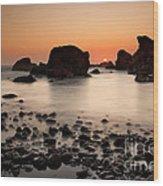 Sunset On A Rock Wood Print