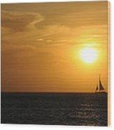 Sunset On Aruba 1 Wood Print