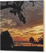 Sunset On Biloxi Bay Wood Print