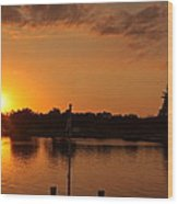 Sunset On Cape Fear Wood Print