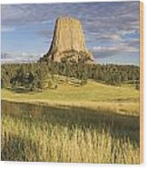Sunset On Devils Tower Wyoming United Wood Print