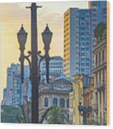 Sunset On Downtown In São Paulo Wood Print