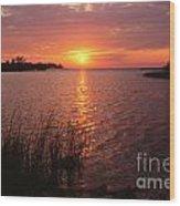 Sunset On Eagle Harbor Wood Print