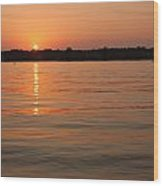 Sunset On Geist Reservoir In Lawrence In Wood Print